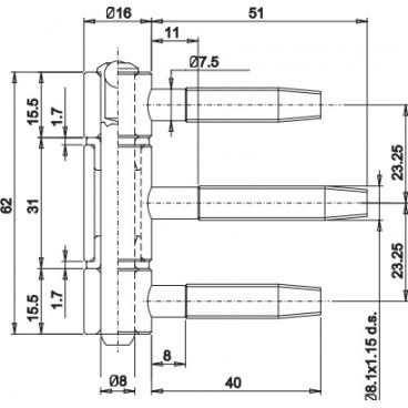 Zamek 72/50 KOLIBER klucz cynk biały