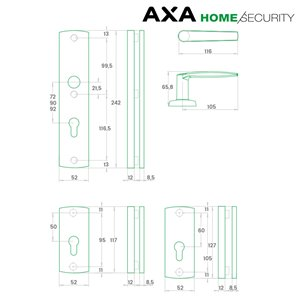 Klamka AXA DIVA FLEX ZABEZPIECZENIE72 bęb F6 inox