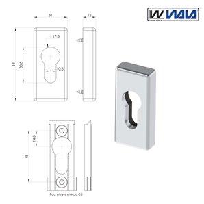 Szyld prostokątny WALA bęb inox