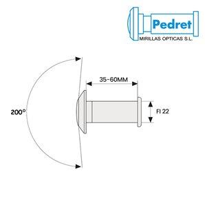 Wizjer PEDRET drzwiowy 22mm (35-60mm)