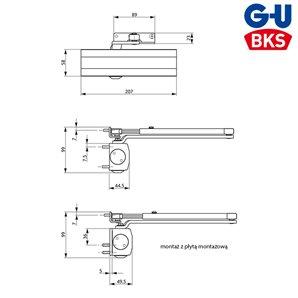 Samozamykacz G-U BKS OTS 210 (EN 2-4) z ramieniem srebrny