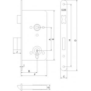 Zamek LOB Z75 72/50 BOX wc cynk biały