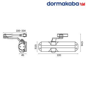 Samozamykacz DORMA TS 68 (EN 3-4) z ramieniem biały
