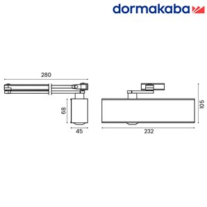 Samozamykacz DORMA TS 71 (EN 3-4) z ramieniem srebrny