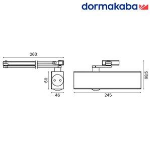 Samozamykacz DORMA TS 83 (EN 2-6) bez ramienia srebrny