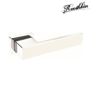Klamka ROYAL VR1 rozeta prostokątna chrom/biały matowy
