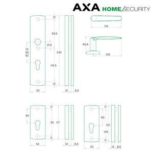 Klamka AXA DIVA 72 bęb F6 inox